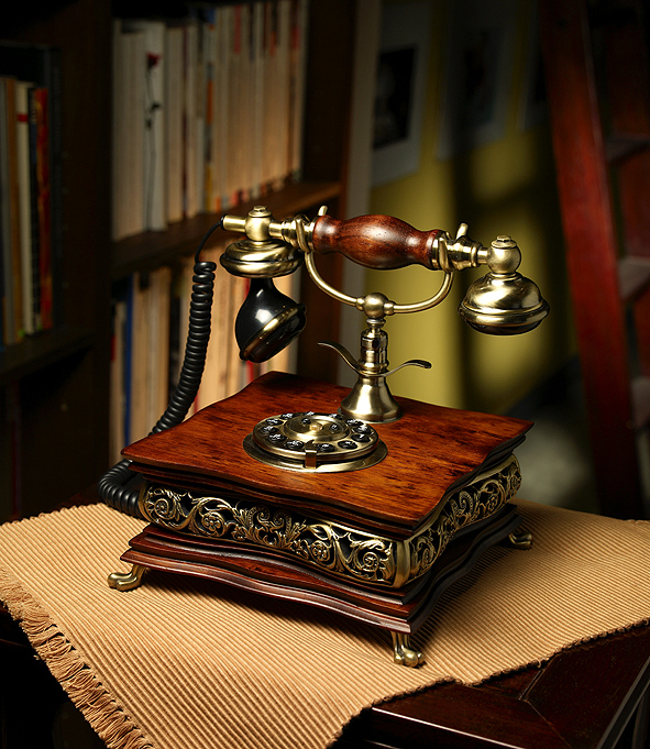 Wood Desk Telephone【HT-39A】【eモンズ】