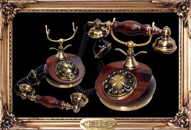 Round Wood Telephone【HT-9105B】【eモンズ】