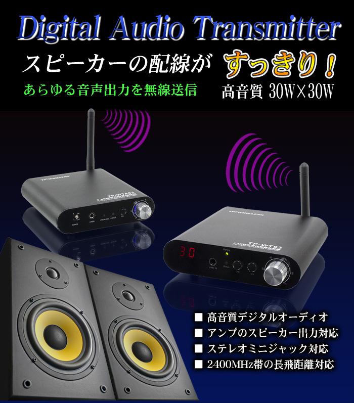 デジタルオーディオトランスミッター【TP-WTA03】スピーカーへワイヤレス送信