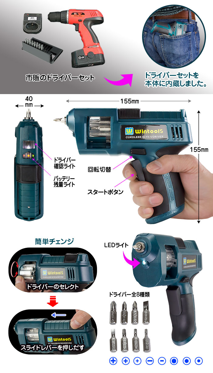 電動工具シリーズドライバーセットを本体に収納【コードレスドライバー】