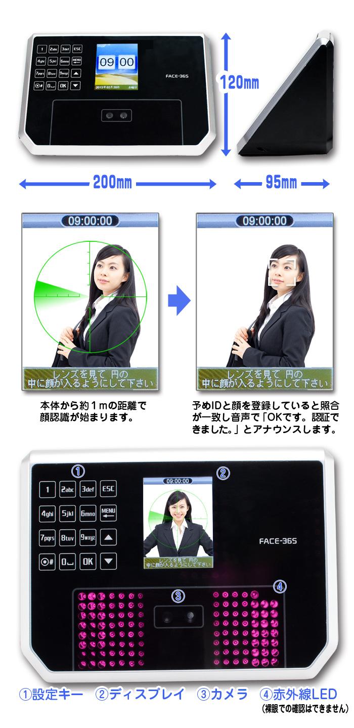 顔認証タイムレコーダー【FACE365】各部詳細並びに機能説明