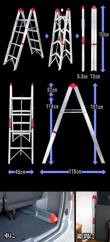 コンパクトスティック4ステップ脚立 【4Step Folding Ladder】各部詳細 脚立が棒状に折り畳める様子をご覧頂けます