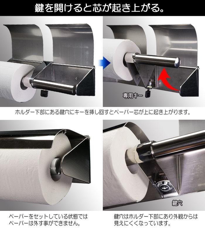 業務用 鍵付きトイレットペーパーホルダー【ロックンロール 】横2連タイプ