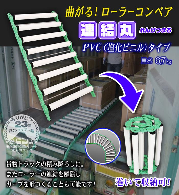 曲がるローラーコンベアPVC(塩化ビニル)タイプ【連結丸】1メートル〜