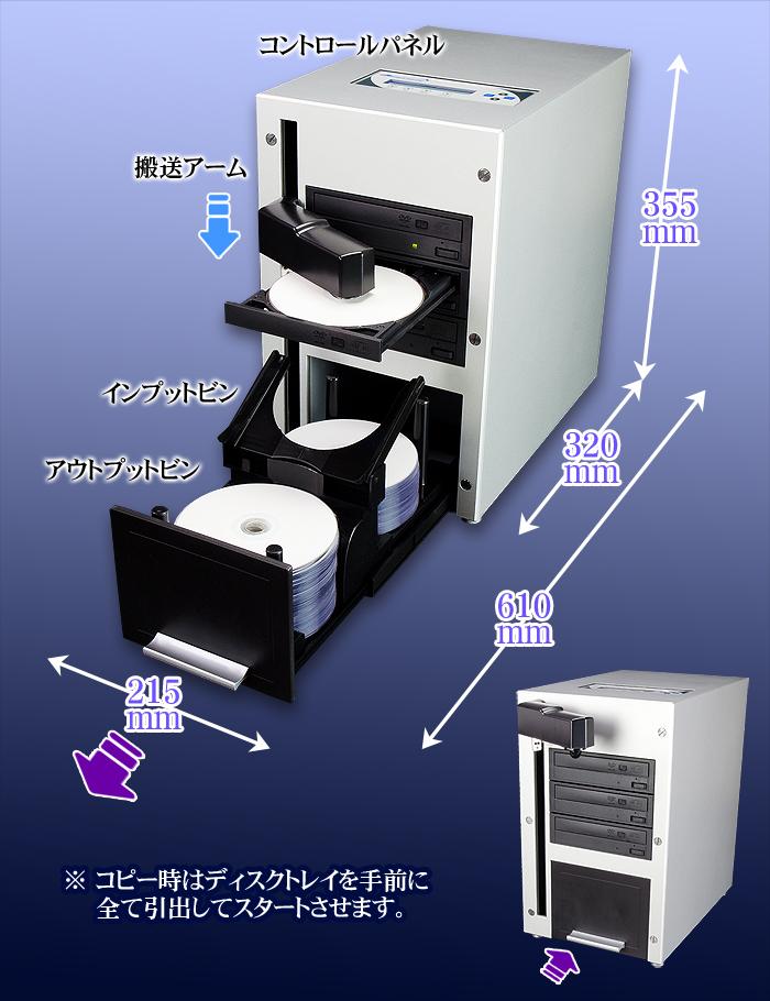 オートローダー付きデュプリケーター【CUB25-S3T】DVD3ドライブ 30枚/時のDVDコピー能力