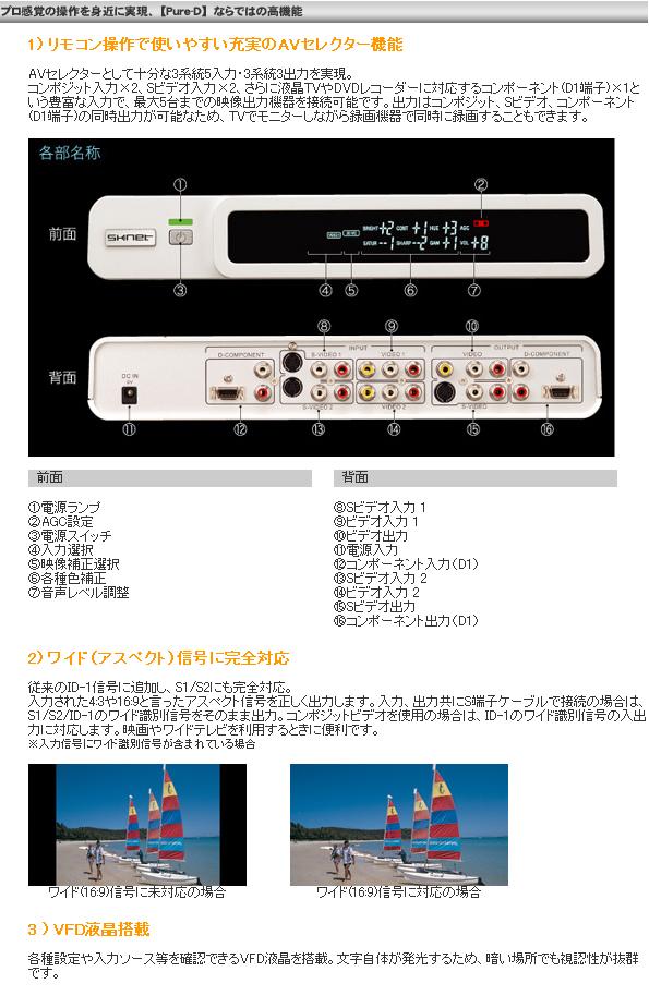 D端子装備の画像安定装置【ピュアディー/Pure-D】 前面背面画像