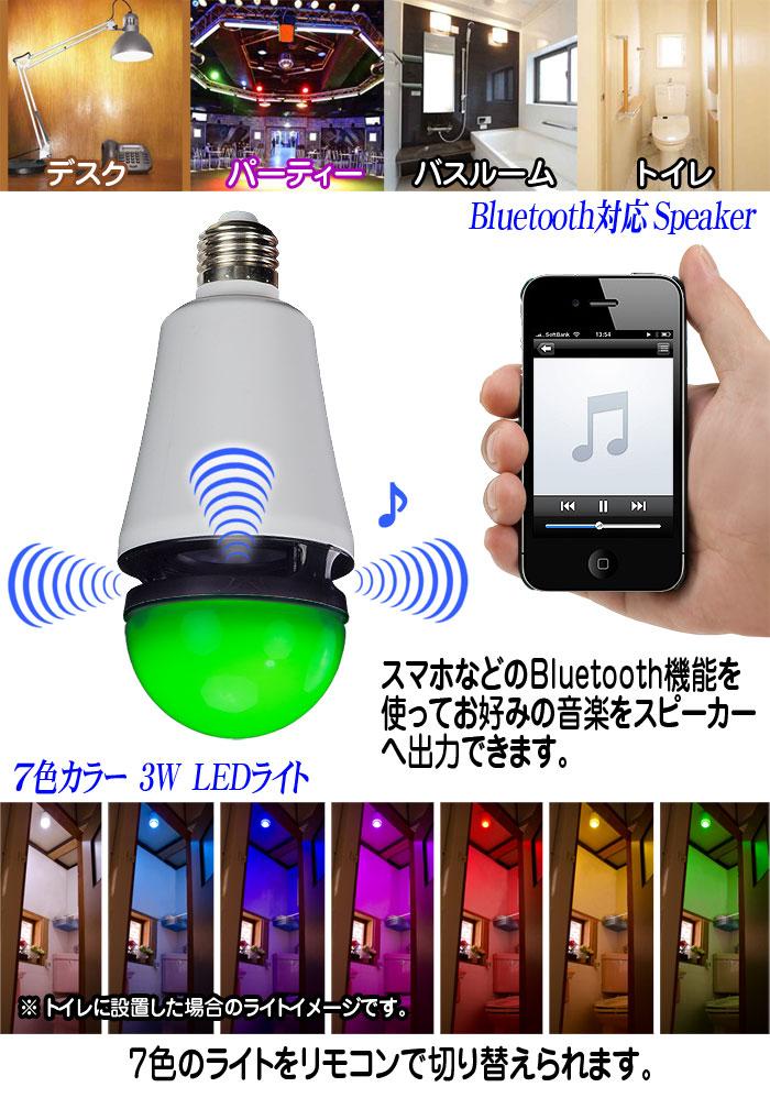 Bluetoothスピーカー搭載【LEDレインボー電球 Speaker Bulb】各部詳細