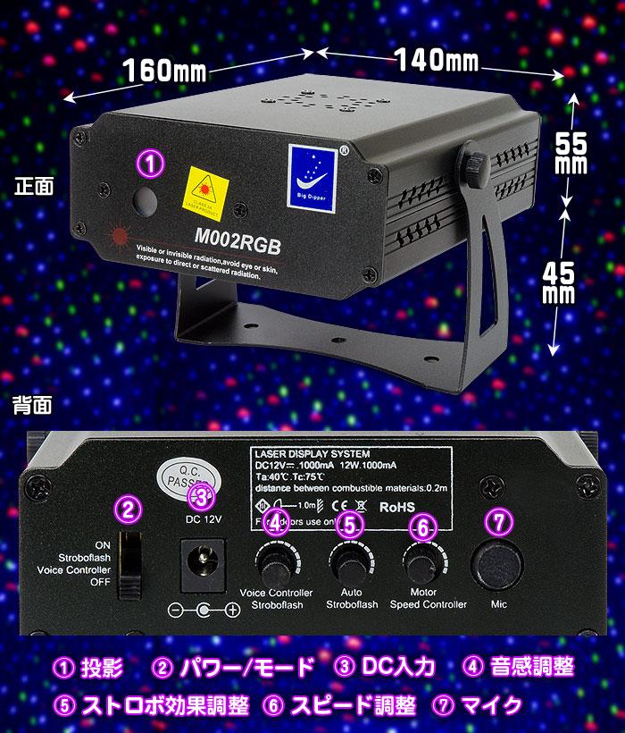 RGBレーザーライト【M002RGB】各部詳細
