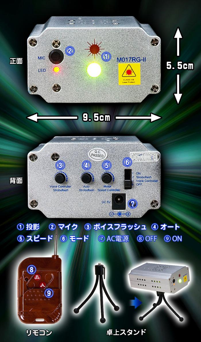 レーザーライト【レーザーステージライティング/Laser Stage Lighting】 各部詳細 全幅9.5cm 全高5.5cm