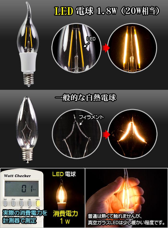 透明フィラメント電球型LED電球 E17-Aタイプ 一般的な白熱球との違い 見た目はほぼ同じで低消費電力と低発熱を実現