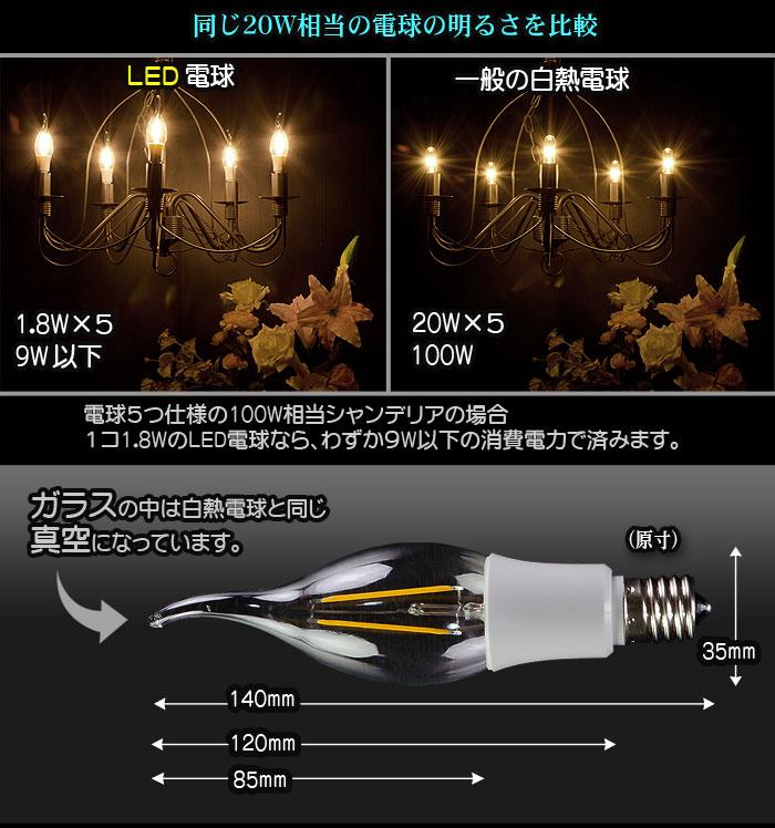 透明フィラメント電球型LED電球 E17-Aタイプ 各部詳細並びに白熱灯との比較 フィラメント球と同じように見えて低消費電力