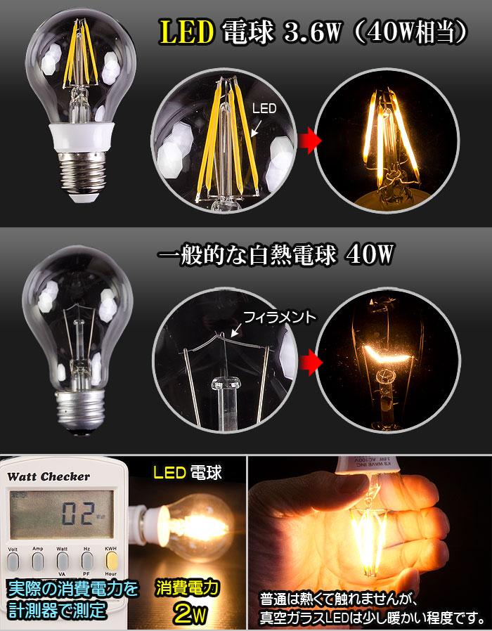 真空フィラメント電球型LED電球 一般的な白熱球との比較
