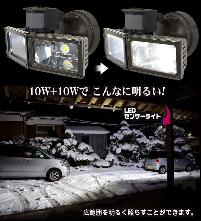 明るくて省電力!10w【LEDセンサーライト】タイプ:L88002-1-S