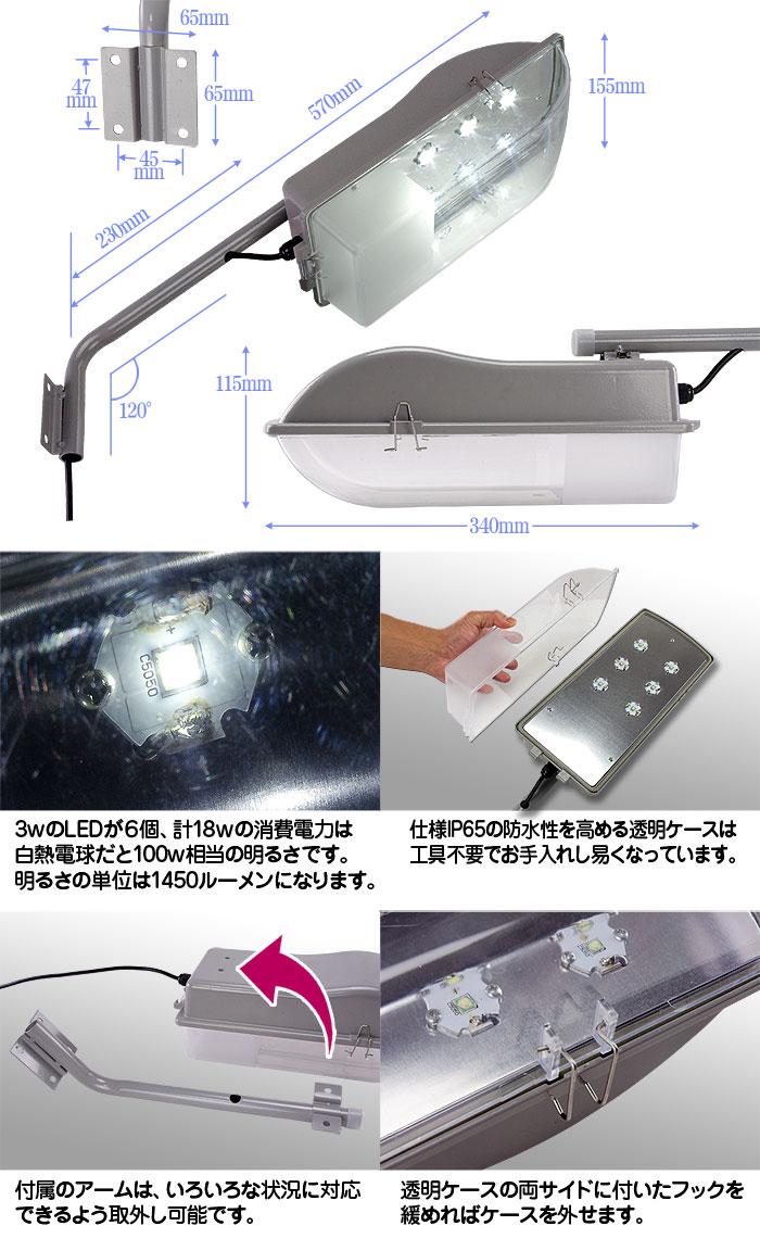 省エネ&低コストのLED外灯 18W【22006‐L3】1450lm