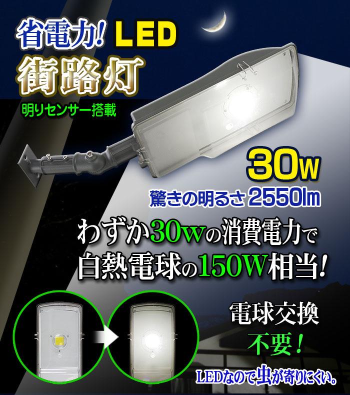 LED街路灯 30W/2550LMタイプ 【22008-L30】30ワットの消費電力で白熱球150ワット相当の明るさを実現