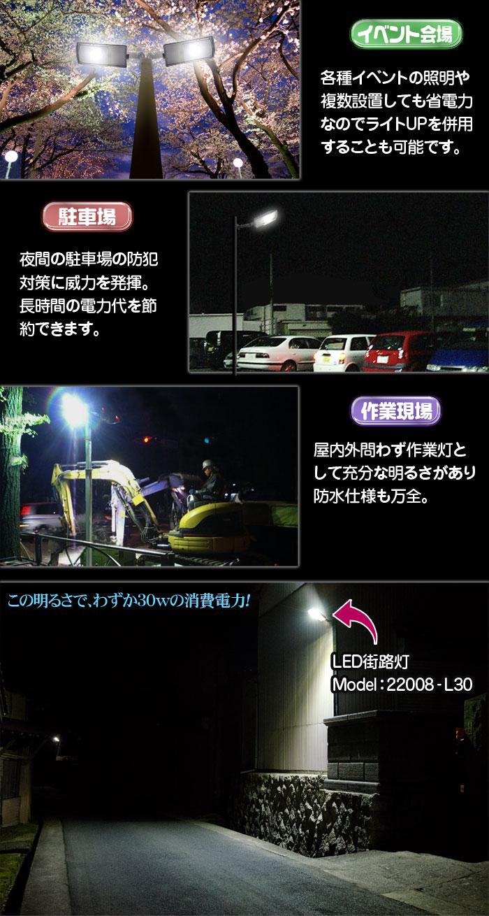 LED街路灯 30W/2550LMタイプ 【22008-L30】街路灯の他に公園や駐車場等の広場を照らすことにも最適