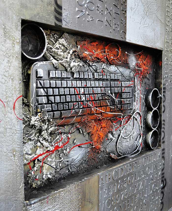 本物のキーボードを特殊な塗料で封印 本物を使うことから生まれる立体感と華やかさ イーモンズアートコレクション 3D-KEYBOARD01