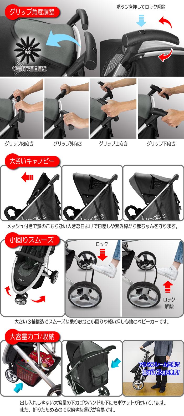 スタイリッシュに着せ替えもできるA型ベビーカー【ibabe】ブラック