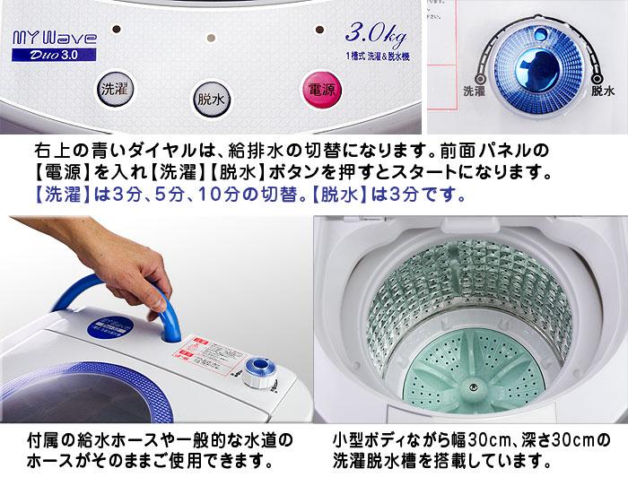 一槽式 洗濯&脱水機【MyWave Duo 3.0】各部詳細 やりたい作業だけを行える簡単操作