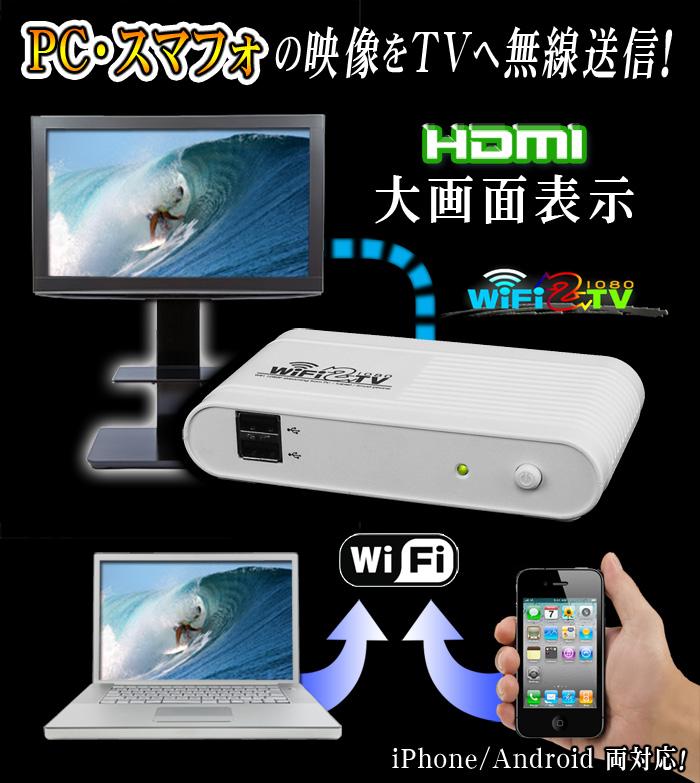 PC&スマホの映像をテレビにWi-Fi送信【WiFi2TV1080】