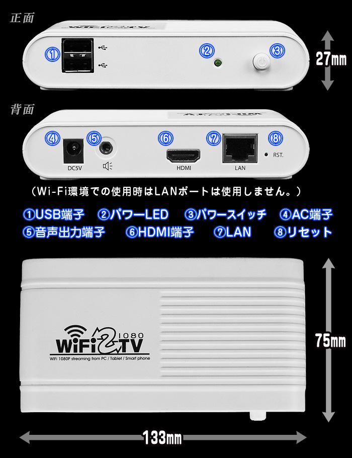 PC&スマートフォンの映像をテレビにWi-Fi送信【WiFi2TV1080】